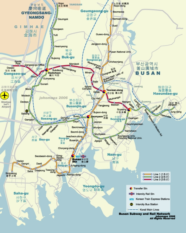 Busan with Humetro map