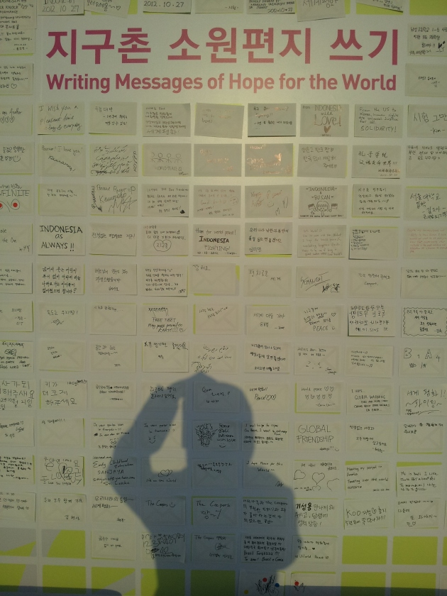 Writing messages of hope for the world: can you see INDONESIA there? ^___^