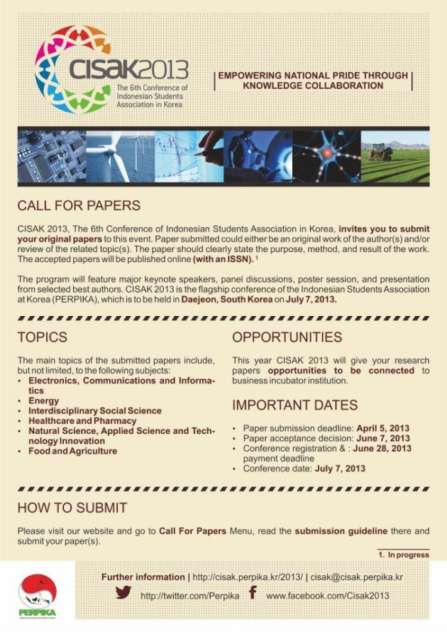 CISAK 2013' topics (paper submission deadline diundur ke 28 April 2013)